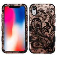 Military Grade Certified TUFF Hybrid Armor Case for iPhone XR - Phoenix Flower Rose Gold