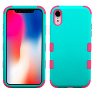 Military Grade Certified TUFF Hybrid Armor Case for iPhone XR - Teal Green Electric Pink