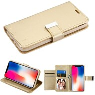 Essential Leather Wallet Stand Case for iPhone XR - Gold