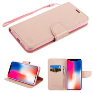 Diary Leather Wallet Stand Case for iPhone XR - Rose Gold