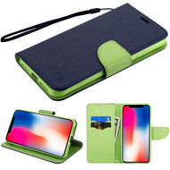 Diary Leather Wallet Stand Case for iPhone XR - Navy Blue Green