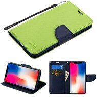 Diary Leather Wallet Stand Case for iPhone XR - Green Navy Blue