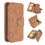 3-IN-1 Luxury Coach Series Leather Wallet with Detachable Magnetic Case for iPhone XR - Brown