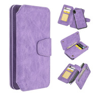 3-IN-1 Luxury Coach Series Leather Wallet with Detachable Magnetic Case for iPhone XR - Lavender