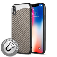 Carbon Metallic Luxury Fusion Case with Magnetic Back Plate for iPhone XR - Grey