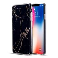 Marble IMD Soft TPU Glitter Case for iPhone XR - Black
