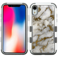 Military Grade Certified TUFF Hybrid Armor Case for iPhone XR - Marble Silver