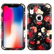 Military Grade Certified TUFF Hybrid Armor Case for iPhone XR - Red and White Roses