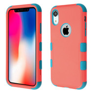 Military Grade Certified TUFF Hybrid Armor Case for iPhone XR - Pink Teal