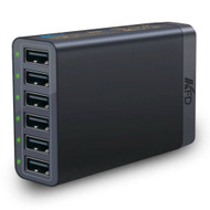 *SALE* Intelligent 6 Port 60W 12A USB Desktop Charger Charging Station - Black