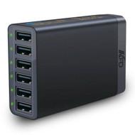 *Sale* Intelligent 6 Port 60W 12A USB Desktop Charger Charging Station - Black