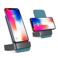 10W Fast Qi Wireless Charger Stand Pad with Dual Coils Charging Transmitter - Blue
