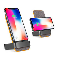 10W Fast Qi Wireless Charger Stand Pad with Dual Coils Charging Transmitter - Grey