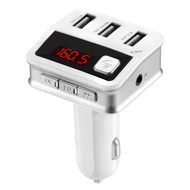 *Sale* Bluetooth FM Transmitter Car Kit with 3 USB Charging Ports - White