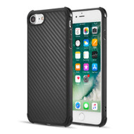 Carbon Fiber Design Soft TPU Case with Shock Absorb Corners for iPhone 8 / 7 - Black