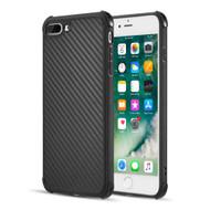 Carbon Fiber Design Soft TPU Case with Shock Absorb Corners for iPhone 8 Plus / 7 Plus - Black