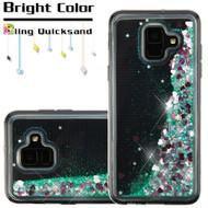Quicksand Glitter Transparent Case for Samsung Galaxy A6 (2018) - Teal Green