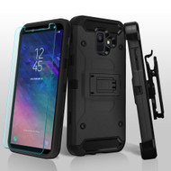 3-IN-1 Kinetic Hybrid Armor Case with Holster and Tempered Glass Screen Protector for Samsung Galaxy A6 (2018) - Black