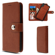 3-IN-1 Luxury Leather Wallet Case for iPhone XS Max - Brown