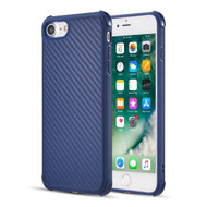 Carbon Fiber Design Soft TPU Case with Shock Absorb Corners for iPhone 8 / 7 - Blue