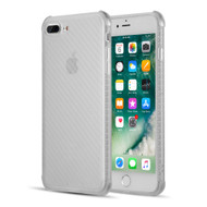 Carbon Fiber Design Soft TPU Case with Shock Absorb Corners for iPhone 8 Plus / 7 Plus - White