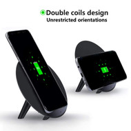 10W Wireless Fast Charger Qi Charging Stand with Dual Coils Inductive Pad - Black