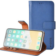 *SALE* Genuine Cowhide Leather Wallet with Card Slot and Magnetic Flap for iPhone XS / X - Navy Blue
