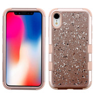 Military Grade Certified TUFF Hybrid Armor Case for iPhone XR - Flakes Rose Gold