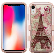 Military Grade Certified TUFF Hybrid Armor Case for iPhone XR - Eiffel Tower Rose Gold