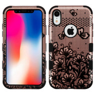 Military Grade Certified TUFF Hybrid Armor Case for iPhone XR - Lace Flower Rose Gold 196