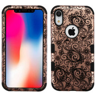 Military Grade Certified TUFF Hybrid Armor Case for iPhone XR - Four Leaves Clover Rose Gold 197