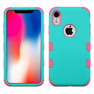 Military Grade Certified TUFF Hybrid Armor Case for iPhone XR - Teal Green Electric Pink 048
