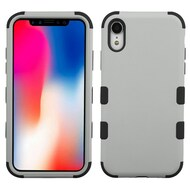 Military Grade Certified TUFF Hybrid Armor Case for iPhone XR - Grey 040