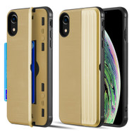 Kard Series Dual Hybrid Case with Card Slot and Magnetic Kickstand for iPhone XR - Gold