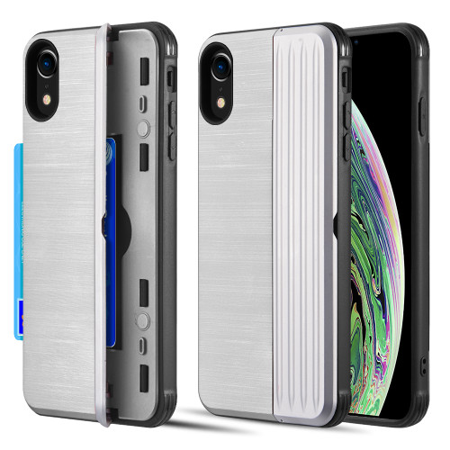Kard Series Dual Hybrid Case with Card Slot and Magnetic Kickstand for iPhone XR - Silver
