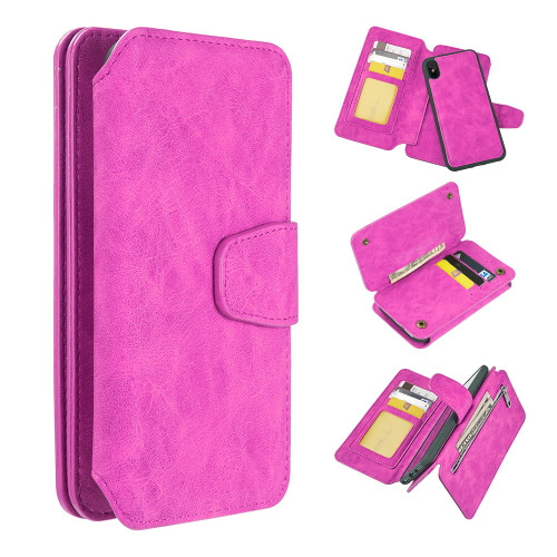 3-IN-1 Luxury Coach Series Leather Wallet with Detachable Magnetic Case for iPhone XS / X - Hot Pink