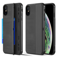 Kard Series Dual Hybrid Case with Card Slot and Magnetic Kickstand for iPhone XS / X - Black