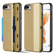 Kard Series Dual Hybrid Case with Card Slot and Magnetic Kickstand for iPhone iPhone 8 Plus / 7 Plus - Gold