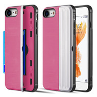 Kard Series Dual Hybrid Case with Card Slot and Magnetic Kickstand for iPhone iPhone 8 / 7 - Pink Silver