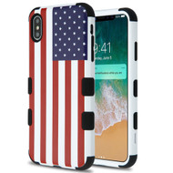 Military Grade Certified TUFF Hybrid Armor Case for iPhone XS Max - United States National Flag