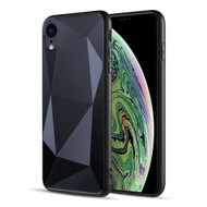 Scratch Resistant Diamond Cut Tempered Glass TPU Fusion Case for iPhone XR - Black