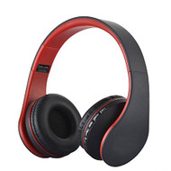 3-IN-1 Foldable Bluetooth V4.0 Wireless On-Ear Headphones with FM Radio and MP3 Player - Black Red