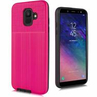 Double Texture Anti-Shock Hybrid Protection Case for Samsung Galaxy A6 (2018) - Hot Pink