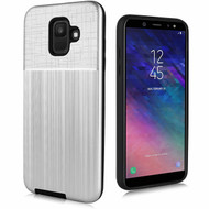 Double Texture Anti-Shock Hybrid Protection Case for Samsung Galaxy A6 (2018) - Silver