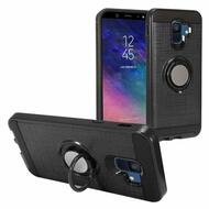 Sports Hybrid Armor Case with Smart Loop Ring Holder for Samsung Galaxy A6 (2018) - Black