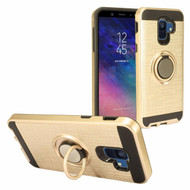 Sports Hybrid Armor Case with Smart Loop Ring Holder for Samsung Galaxy A6 (2018) - Gold