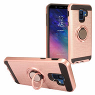 Sports Hybrid Armor Case with Smart Loop Ring Holder for Samsung Galaxy A6 (2018) - Rose Gold