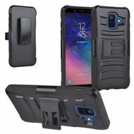 Advanced Armor Hybrid Kickstand Case with Holster and Tempered Glass Screen Protector for Samsung Galaxy A6 (2018) - Black