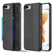Kard Series Dual Hybrid Case with Card Slot and Magnetic Kickstand for iPhone iPhone 8 Plus / 7 Plus - Black