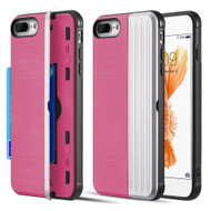 Kard Series Dual Hybrid Case with Card Slot and Magnetic Kickstand for iPhone iPhone 8 Plus / 7 Plus - Pink Silver